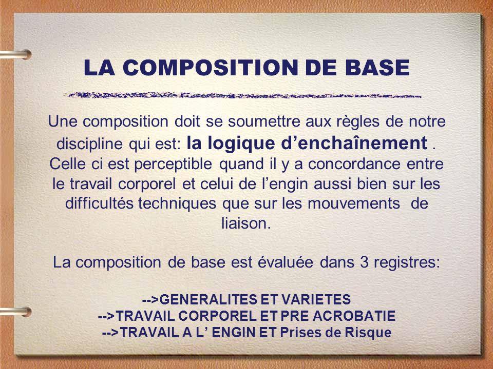 LA COMPOSITION DE BASE Une composition doit se soumettre aux règles de notre discipline qui est: la logique denchaînement. Celle ci est perceptible qu