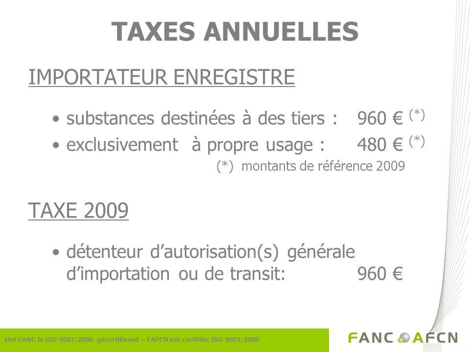 TAXES ANNUELLES IMPORTATEUR ENREGISTRE substances destinées à des tiers :960 (*) exclusivement à propre usage :480 (*) (*) montants de référence 2009 TAXE 2009 détenteur dautorisation(s) générale dimportation ou de transit:960 Het FANC is ISO 9001:2000 gecertifieerd – lAFCN est certifiée ISO 9001:2000