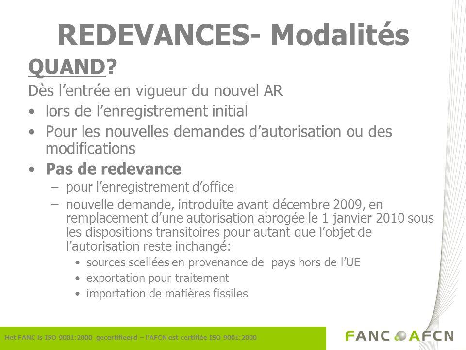 REDEVANCES- Modalités QUAND.