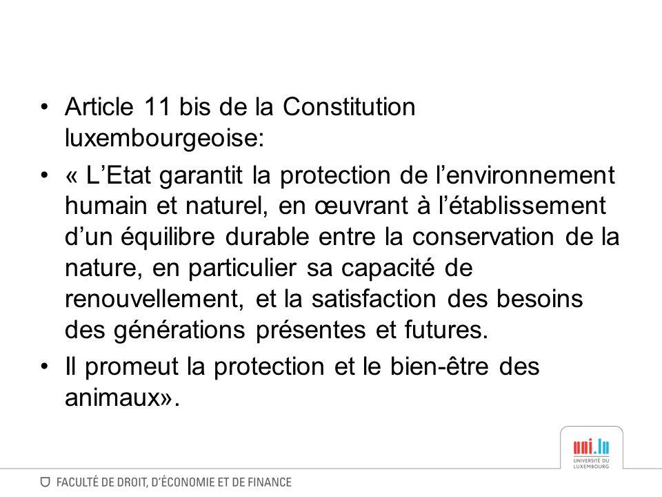 Article 11 bis de la Constitution luxembourgeoise: « LEtat garantit la protection de lenvironnement humain et naturel, en œuvrant à létablissement dun