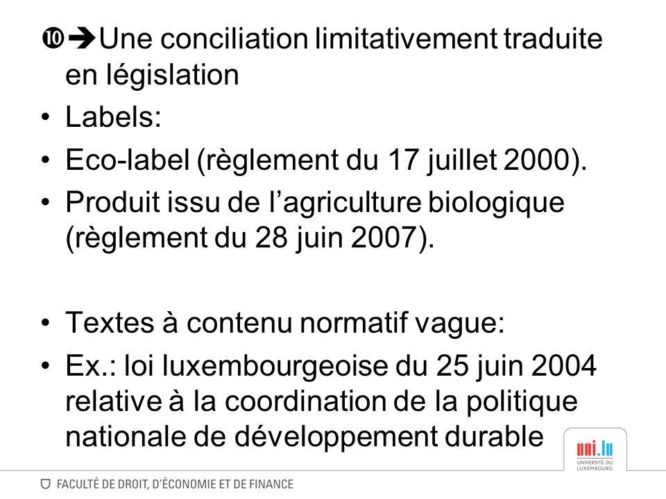 Une conciliation limitativement traduite en législation Labels: Eco-label (règlement du 17 juillet 2000). Produit issu de lagriculture biologique (règ