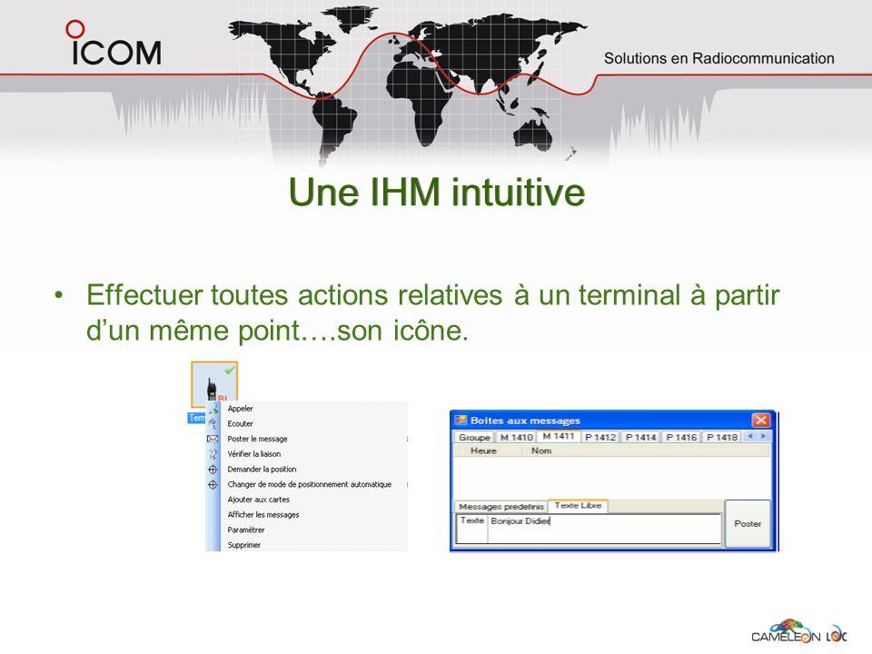 Une IHM intuitive Effectuer toutes actions relatives à un terminal à partir dun même point….son icône.