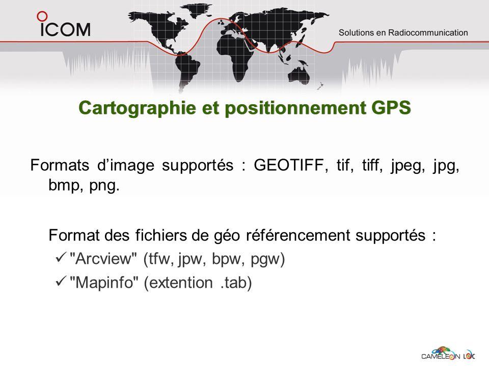 Formats dimage supportés : GEOTIFF, tif, tiff, jpeg, jpg, bmp, png. Format des fichiers de géo référencement supportés :