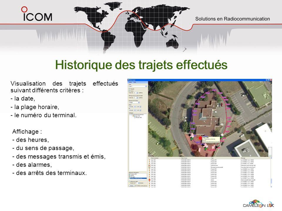 Historique des trajets effectués Visualisation des trajets effectués suivant différents critères : - la date, - la plage horaire, - le numéro du termi