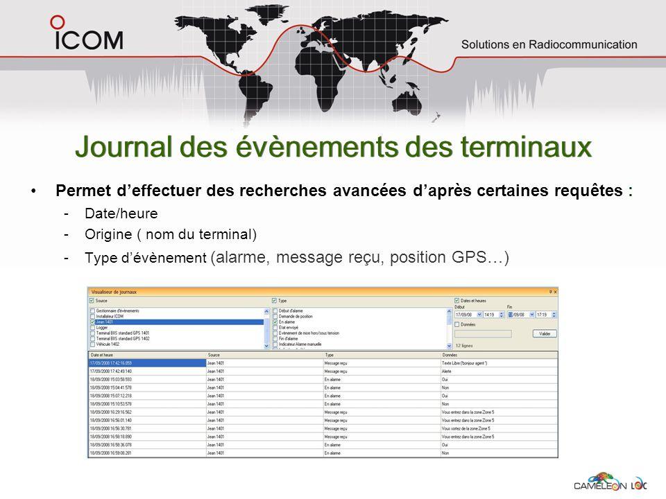Journal des évènements des terminaux Permet deffectuer des recherches avancées daprès certaines requêtes : -Date/heure -Origine ( nom du terminal) -Ty