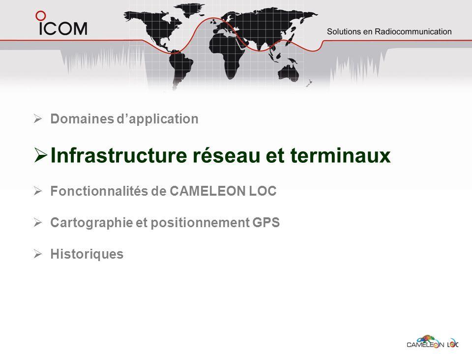 Infrastructure réseau et terminaux Fonctionnalités de CAMELEON LOC Cartographie et positionnement GPS Historiques