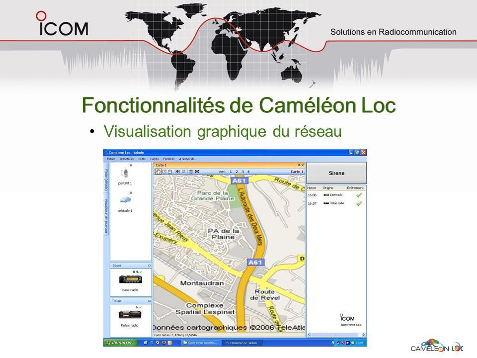 Fonctionnalités de Caméléon Loc Visualisation graphique du réseau