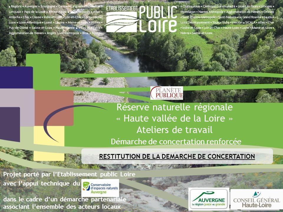 Réserve naturelle régionale « Haute vallée de la Loire » Ateliers de travail Démarche de concertation renforcée Projet porté par lEtablissement public