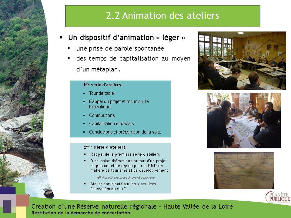 2.2 Animation des ateliers Un dispositif danimation « léger » une prise de parole spontanée des temps de capitalisation au moyen dun métaplan. Créatio