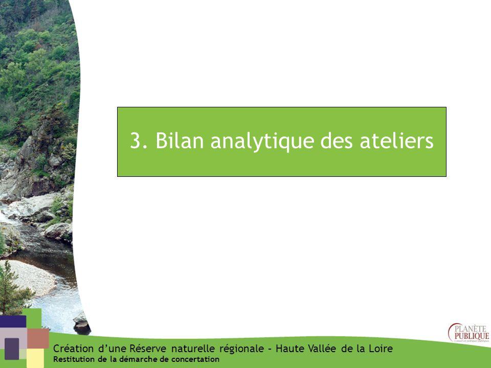 3. Bilan analytique des ateliers Création dune Réserve naturelle régionale – Haute Vallée de la Loire Restitution de la démarche de concertation