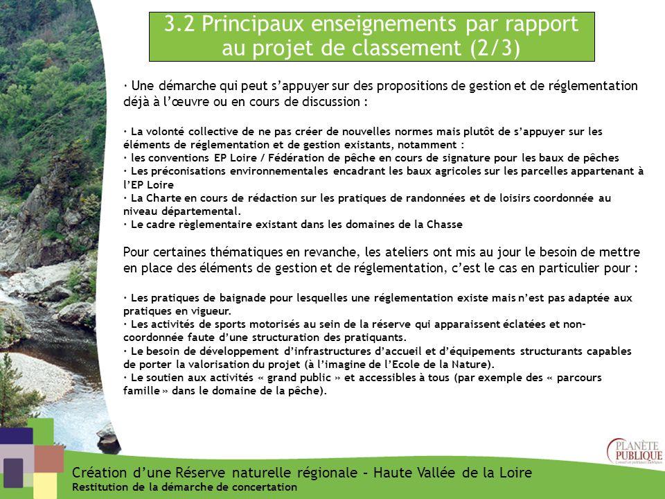 3.2 Principaux enseignements par rapport au projet de classement (2/3) Création dune Réserve naturelle régionale – Haute Vallée de la Loire Restitutio