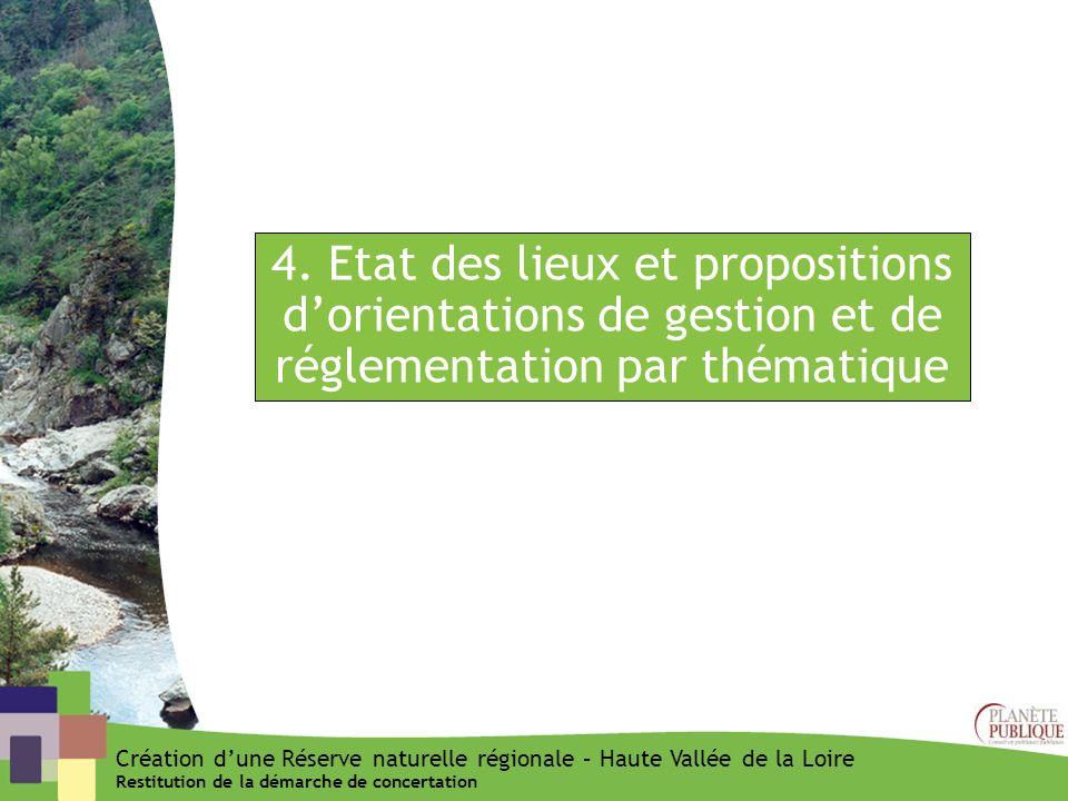 4. Etat des lieux et propositions dorientations de gestion et de réglementation par thématique Création dune Réserve naturelle régionale – Haute Vallé