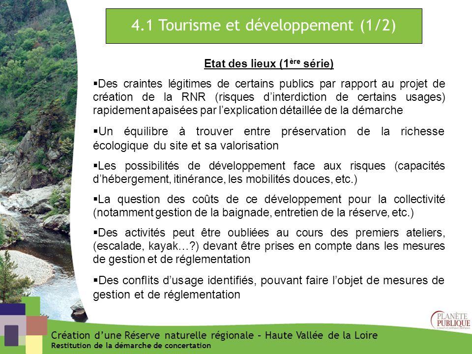 4.1 Tourisme et développement (1/2) Etat des lieux (1 ère série) Des craintes légitimes de certains publics par rapport au projet de création de la RN