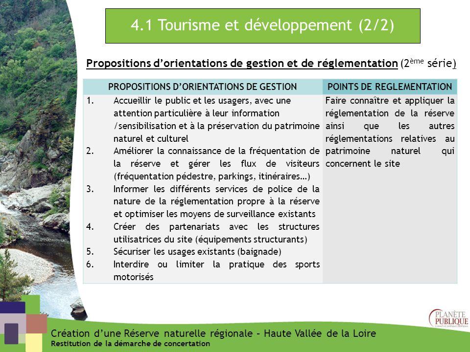 4.1 Tourisme et développement (2/2) Propositions dorientations de gestion et de réglementation (2 ème série) PROPOSITIONS DORIENTATIONS DE GESTIONPOIN