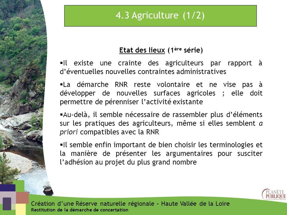 4.3 Agriculture (1/2) Etat des lieux (1 ère série) Il existe une crainte des agriculteurs par rapport à déventuelles nouvelles contraintes administrat