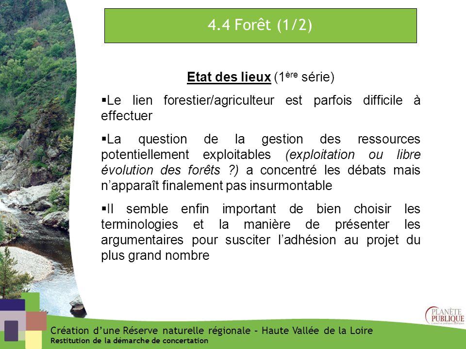 4.4 Forêt (1/2) Etat des lieux (1 ère série) Le lien forestier/agriculteur est parfois difficile à effectuer La question de la gestion des ressources