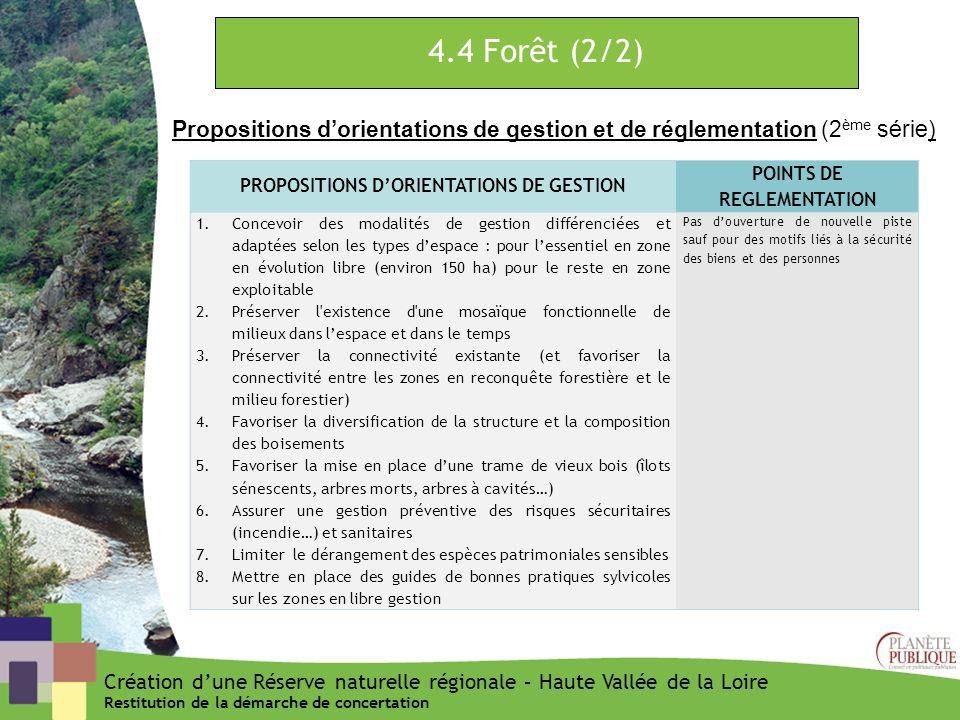 4.4 Forêt (2/2) Propositions dorientations de gestion et de réglementation (2 ème série) PROPOSITIONS DORIENTATIONS DE GESTION POINTS DE REGLEMENTATIO