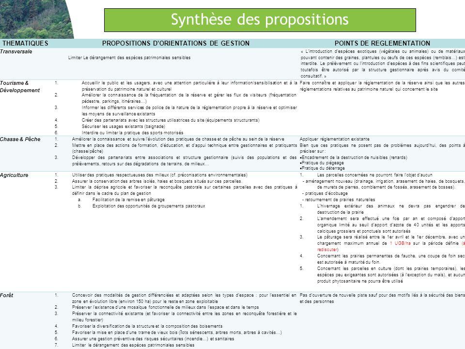 Synthèse des propositions Création dune Réserve naturelle régionale – Haute Vallée de la Loire Restitution de la démarche de concertation THEMATIQUESP