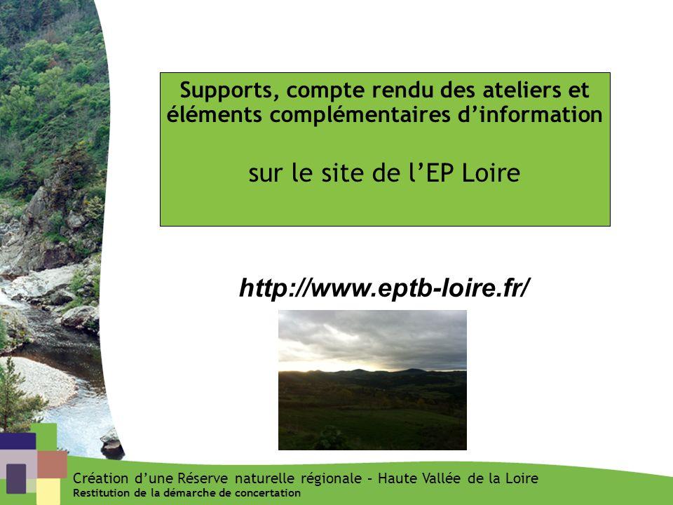 Supports, compte rendu des ateliers et éléments complémentaires dinformation sur le site de lEP Loire http://www.eptb-loire.fr/ Création dune Réserve