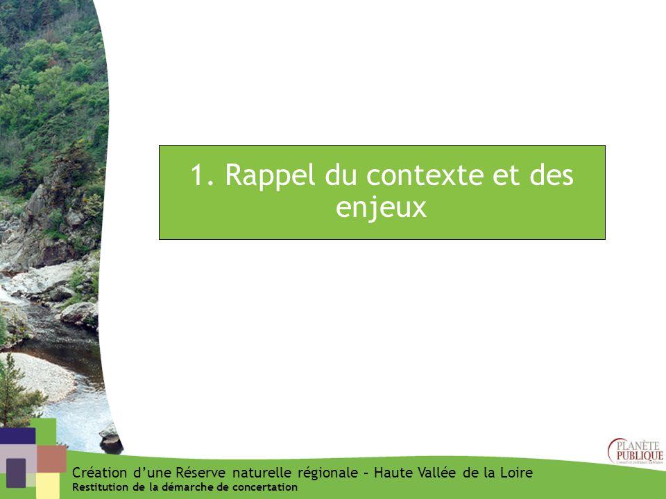 1. Rappel du contexte et des enjeux Création dune Réserve naturelle régionale – Haute Vallée de la Loire Restitution de la démarche de concertation