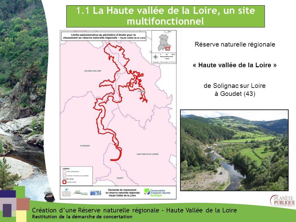 3.2 Principaux enseignements par rapport au projet de classement (2/3) Création dune Réserve naturelle régionale – Haute Vallée de la Loire Restitution de la démarche de concertation · Une démarche qui peut sappuyer sur des propositions de gestion et de réglementation déjà à lœuvre ou en cours de discussion : · La volonté collective de ne pas créer de nouvelles normes mais plutôt de sappuyer sur les éléments de réglementation et de gestion existants, notamment : · les conventions EP Loire / Fédération de pêche en cours de signature pour les baux de pêches · Les préconisations environnementales encadrant les baux agricoles sur les parcelles appartenant à lEP Loire · La Charte en cours de rédaction sur les pratiques de randonnées et de loisirs coordonnée au niveau départemental.