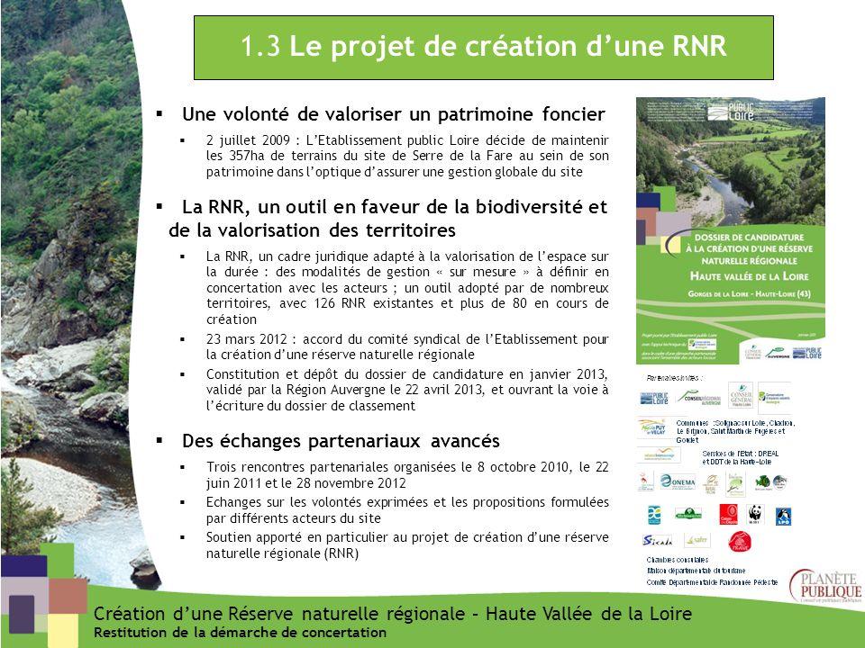 1.3 Le projet de création dune RNR Une volonté de valoriser un patrimoine foncier 2 juillet 2009 : LEtablissement public Loire décide de maintenir les
