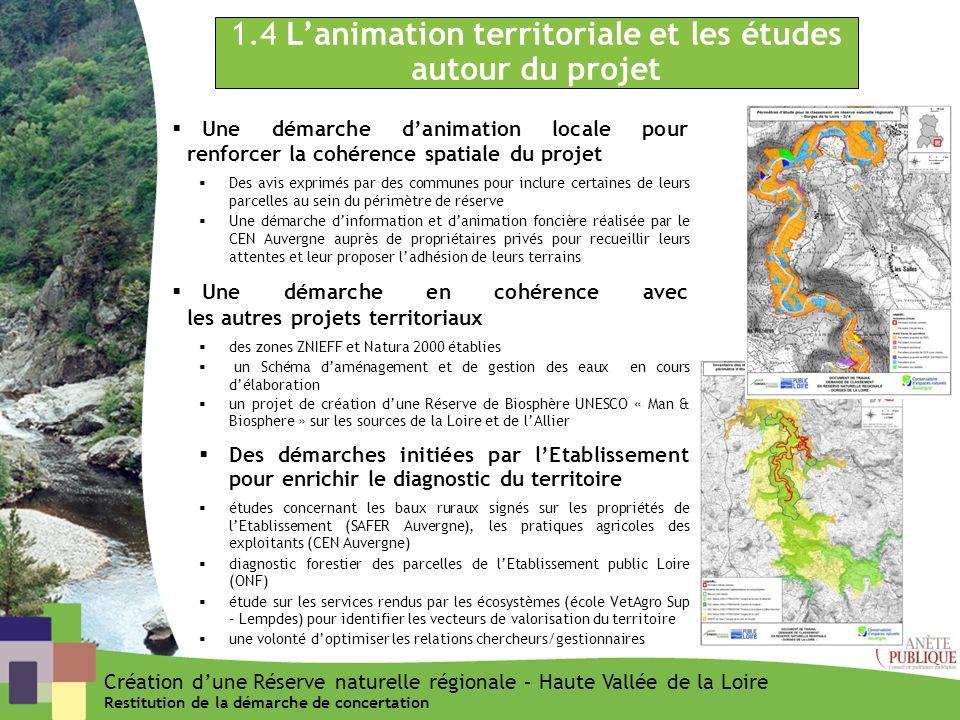 1.4 Lanimation territoriale et les études autour du projet Une démarche danimation locale pour renforcer la cohérence spatiale du projet Des avis expr