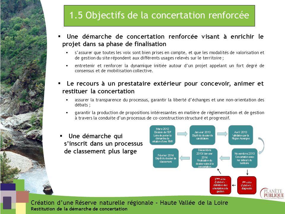 1.5 Objectifs de la concertation renforcée Une démarche de concertation renforcée visant à enrichir le projet dans sa phase de finalisation sassurer q