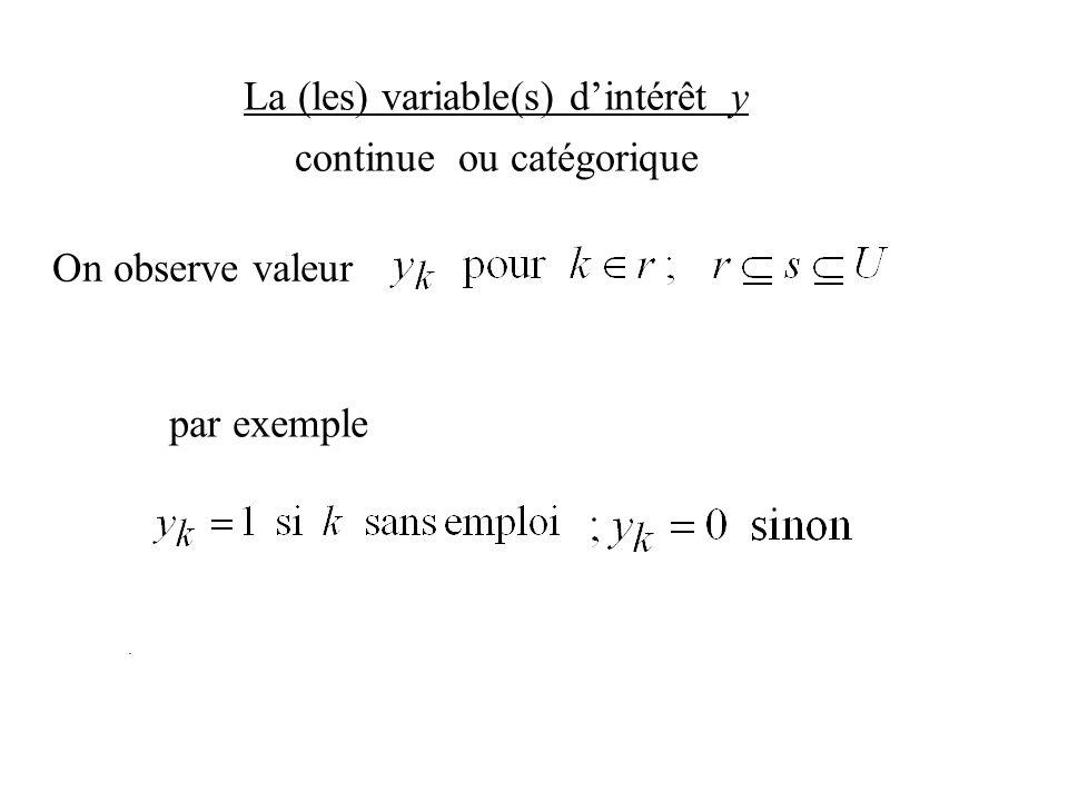 La (les) variable(s) dintérêt y continue ou catégorique On observe valeur. par exemple