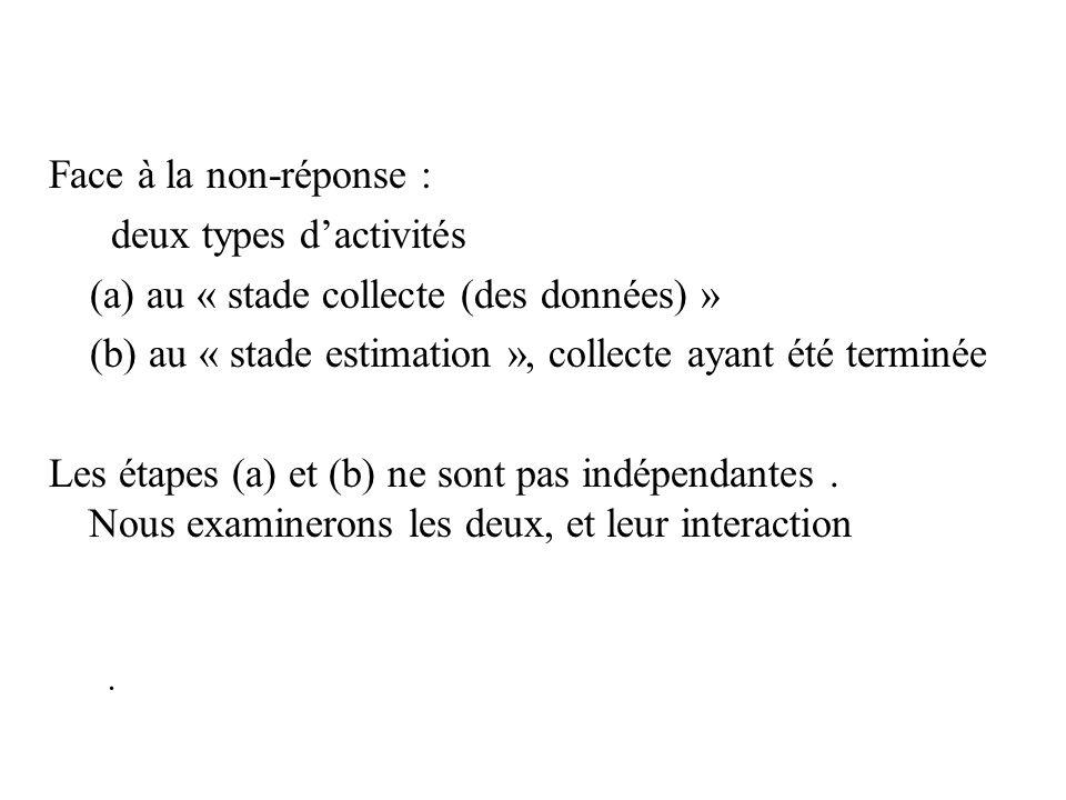 . Face à la non-réponse : deux types dactivités (a) au « stade collecte (des données) » (b) au « stade estimation », collecte ayant été terminée Les é
