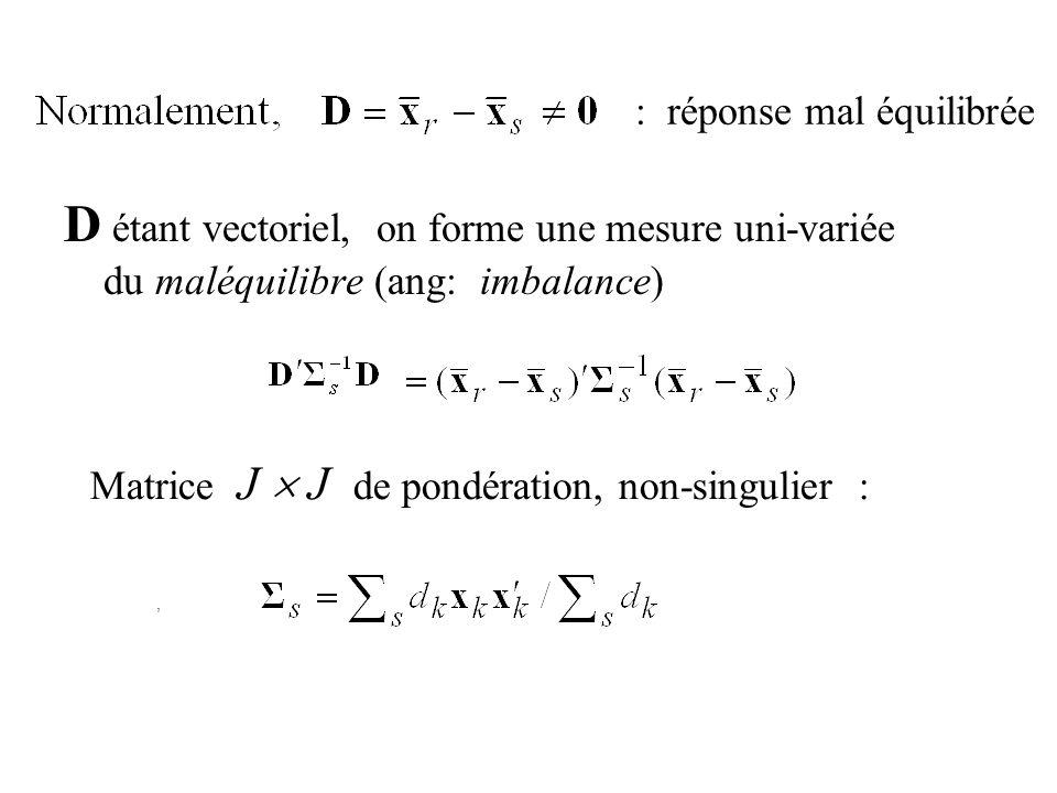 : réponse mal équilibrée D étant vectoriel, on forme une mesure uni-variée du maléquilibre (ang: imbalance), Matrice J J de pondération, non-singulier