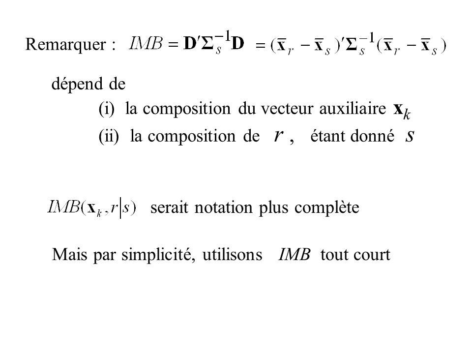 Remarquer : dépend de (i) la composition du vecteur auxiliaire x k (ii) la composition de r, étant donné s serait notation plus complète Mais par simp