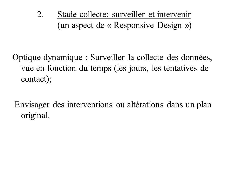 2. Stade collecte: surveiller et intervenir (un aspect de « Responsive Design ») Optique dynamique : Surveiller la collecte des données, vue en foncti