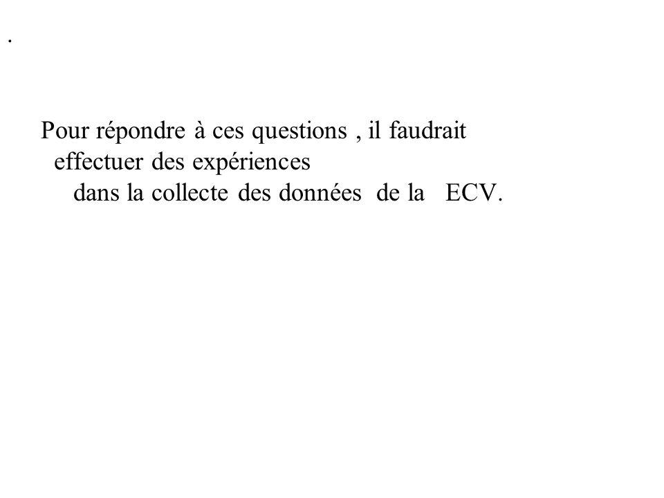 Pour répondre à ces questions, il faudrait effectuer des expériences dans la collecte des données de la ECV..