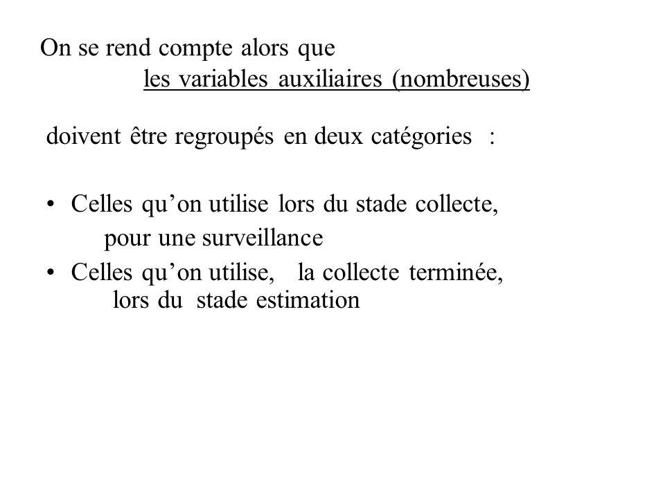 On se rend compte alors que les variables auxiliaires (nombreuses) doivent être regroupés en deux catégories : Celles quon utilise lors du stade colle