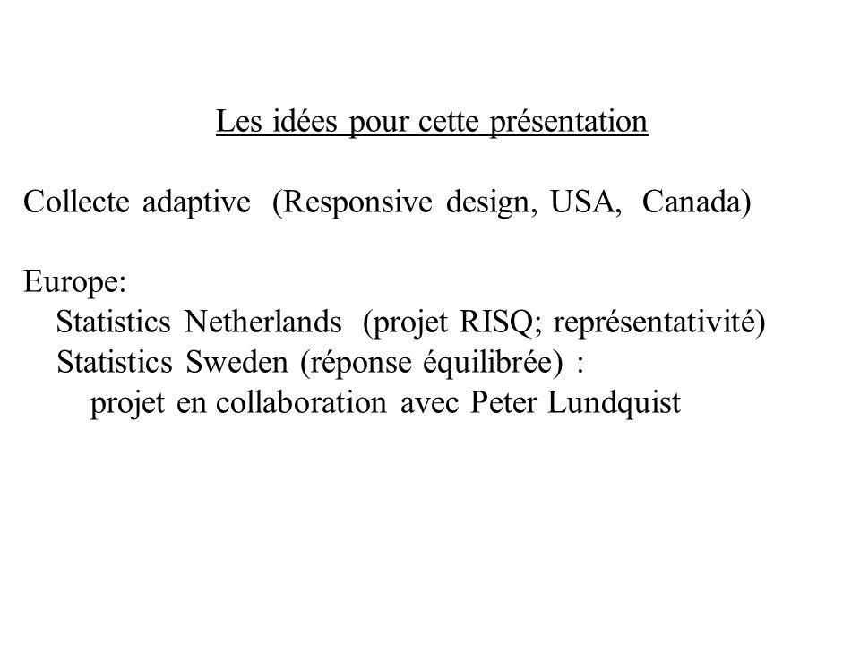 Les idées pour cette présentation Collecte adaptive (Responsive design, USA, Canada) Europe: Statistics Netherlands (projet RISQ; représentativité) St