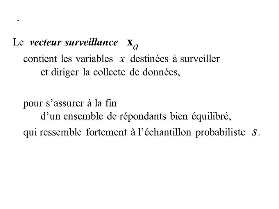 . Le vecteur surveillance x a contient les variables x destinées à surveiller et diriger la collecte de données, pour sassurer à la fin dun ensemble d