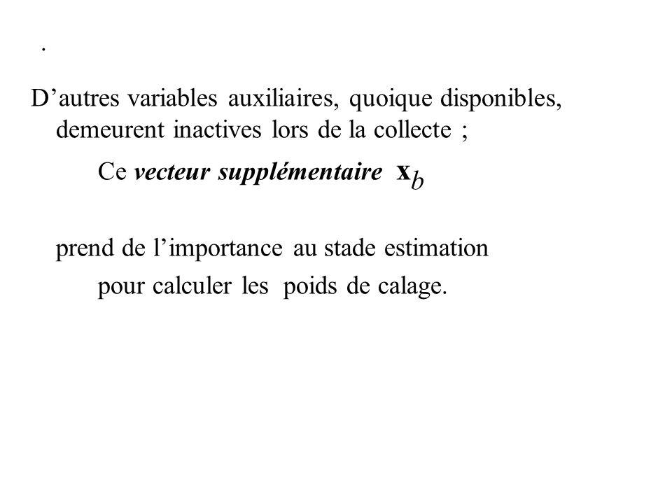 . Dautres variables auxiliaires, quoique disponibles, demeurent inactives lors de la collecte ; Ce vecteur supplémentaire x b prend de limportance au