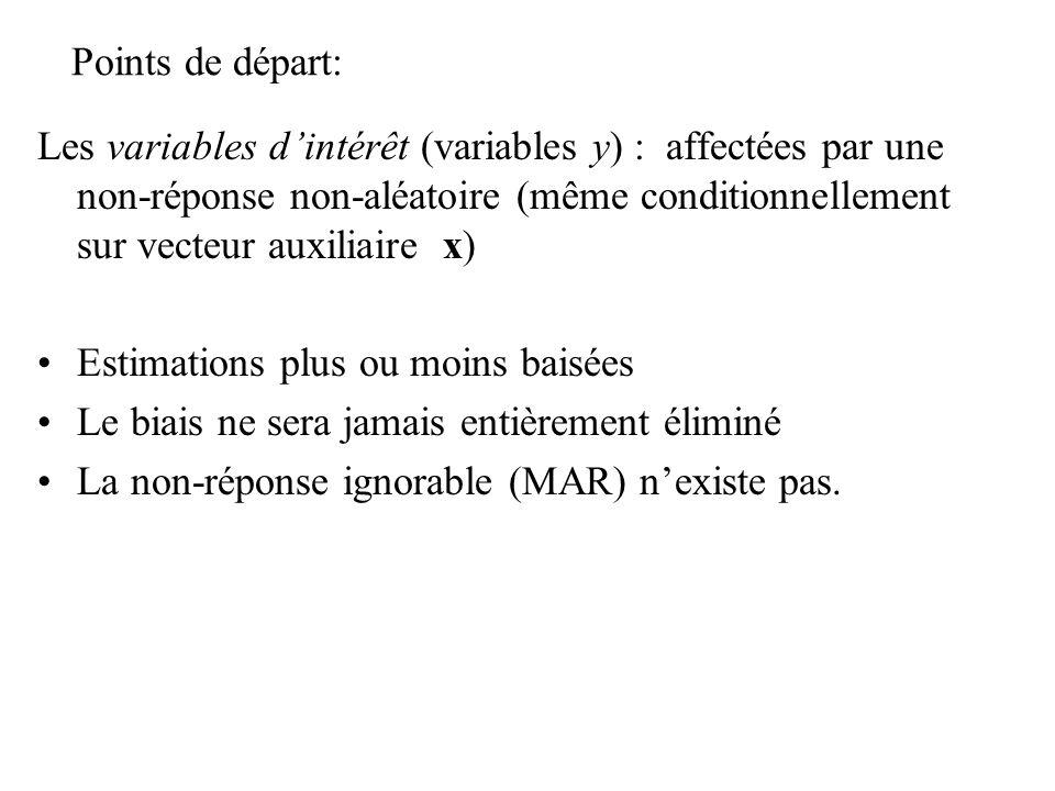 Points de départ: Les variables dintérêt (variables y) : affectées par une non-réponse non-aléatoire (même conditionnellement sur vecteur auxiliaire x