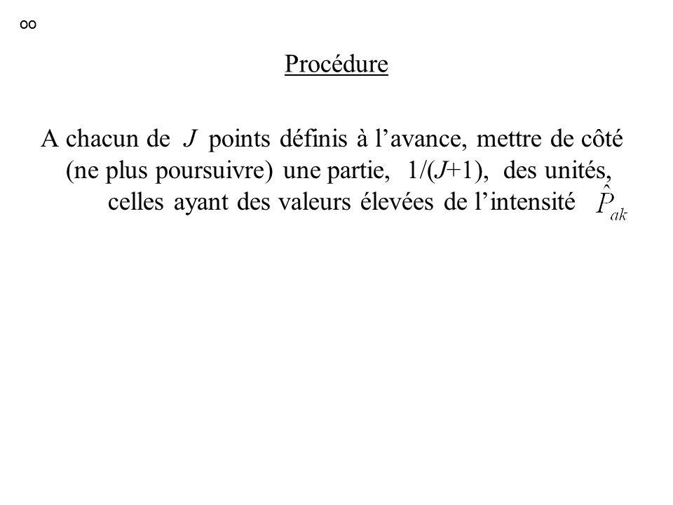 Procédure A chacun de J points définis à lavance, mettre de côté (ne plus poursuivre) une partie, 1/(J+1), des unités, celles ayant des valeurs élevée