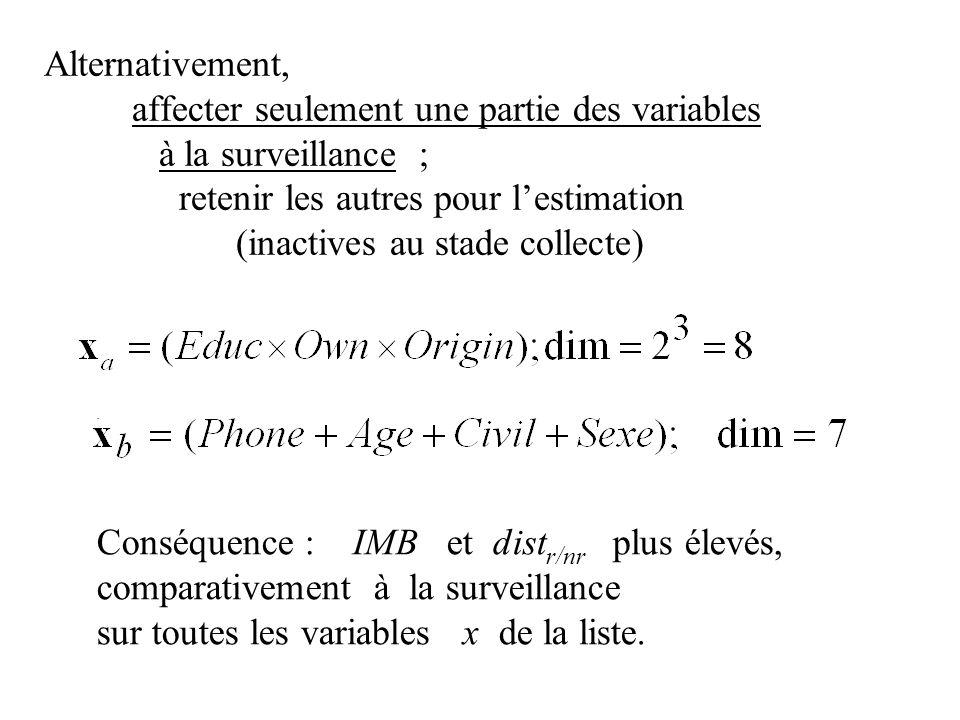 Alternativement, affecter seulement une partie des variables à la surveillance ; retenir les autres pour lestimation (inactives au stade collecte).. C