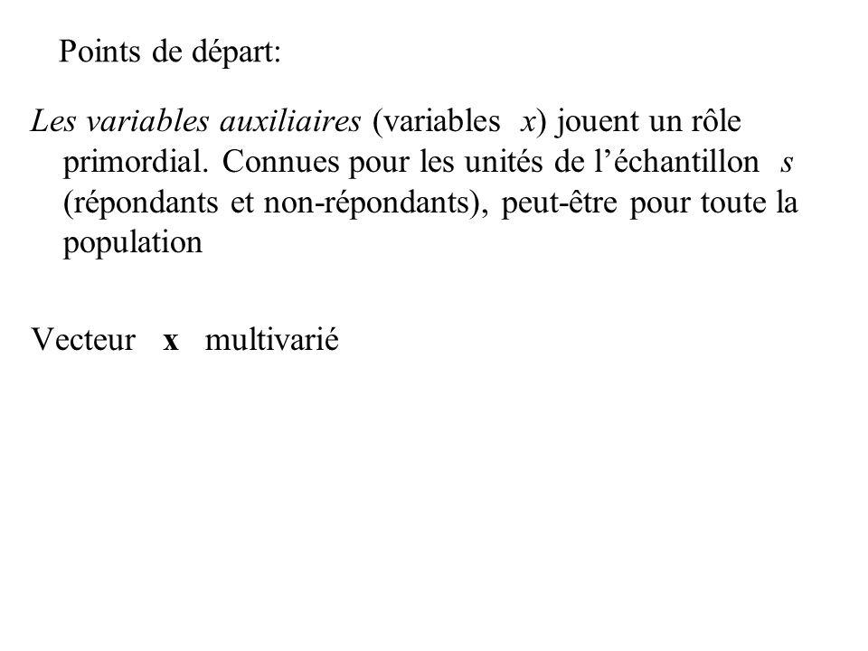 Points de départ: Les variables auxiliaires (variables x) jouent un rôle primordial. Connues pour les unités de léchantillon s (répondants et non-répo