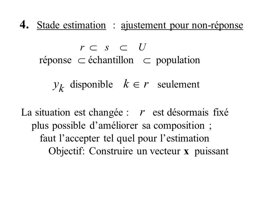 4. Stade estimation : ajustement pour non-réponse y k disponible k r seulement La situation est changée : r est désormais fixé plus possible daméliore