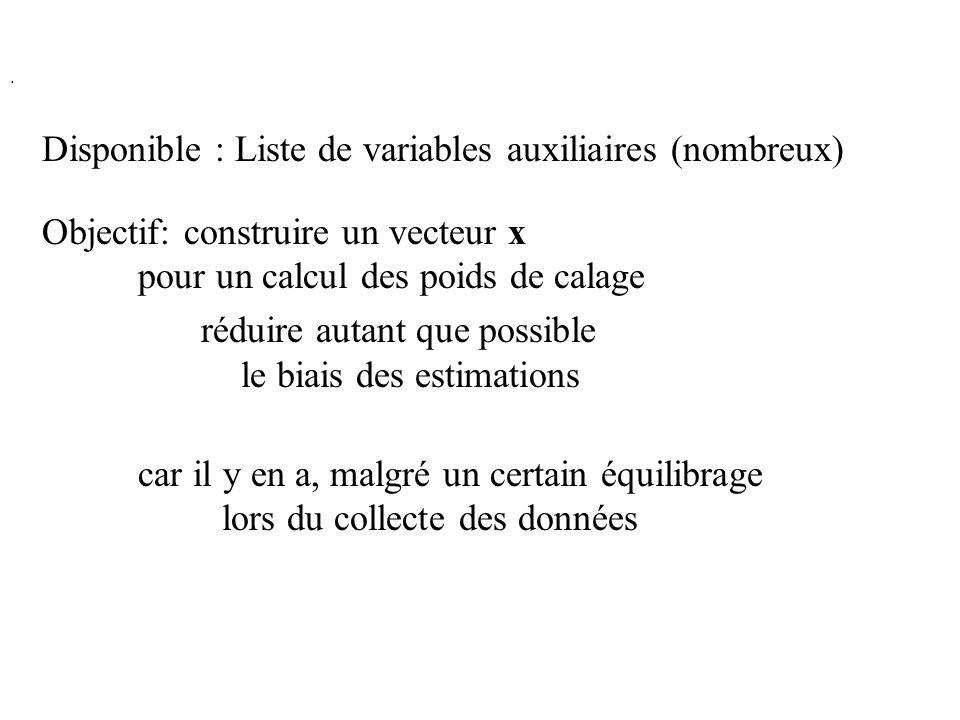 . Disponible : Liste de variables auxiliaires (nombreux) Objectif: construire un vecteur x pour un calcul des poids de calage réduire autant que possi