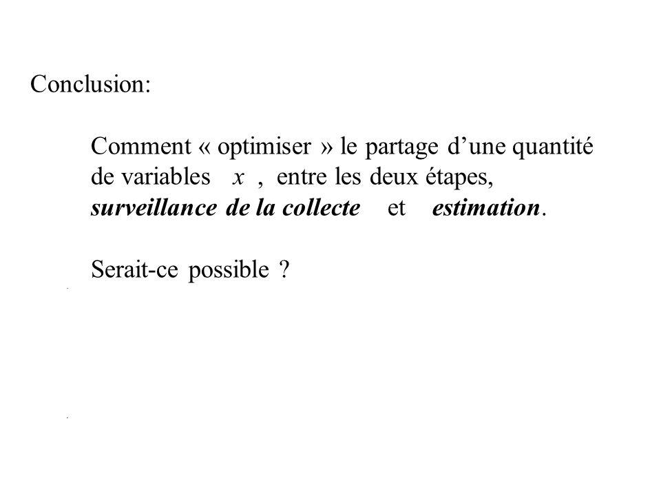 Conclusion: Comment « optimiser » le partage dune quantité de variables x, entre les deux étapes, surveillance de la collecte et estimation. Serait-ce