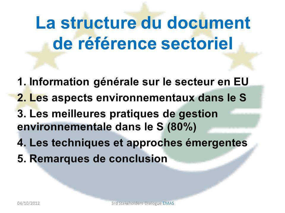 La structure du document de référence sectoriel 1.