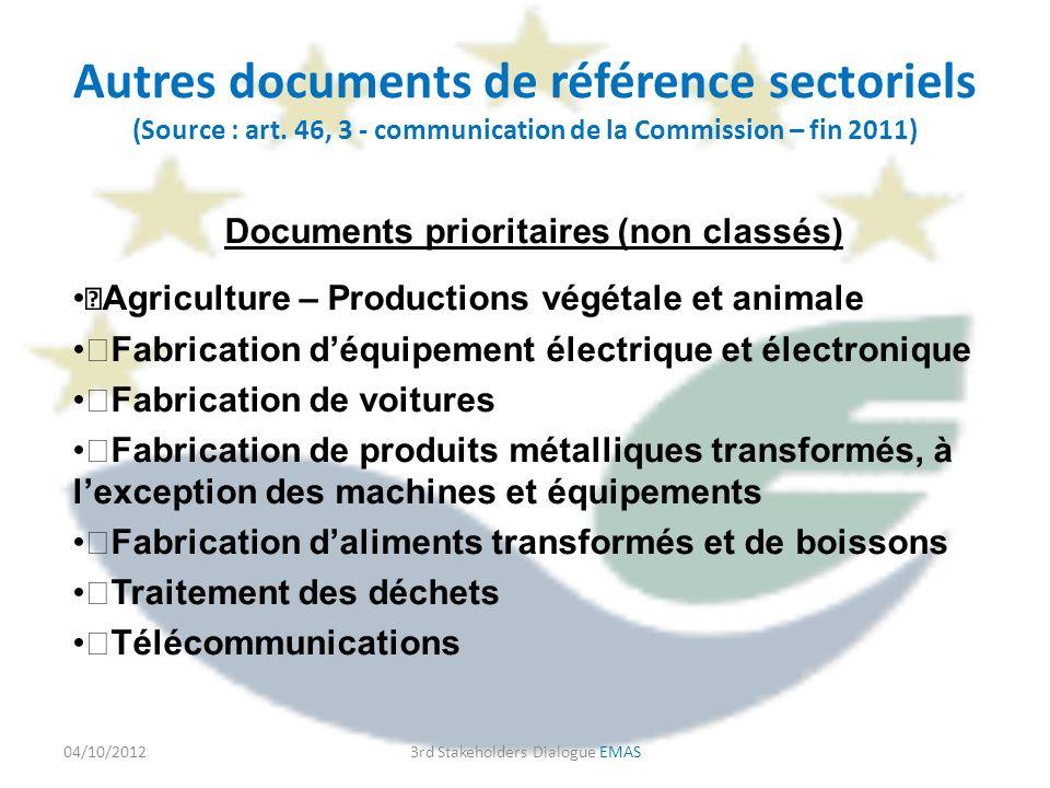 Autres documents de référence sectoriels (Source : art.
