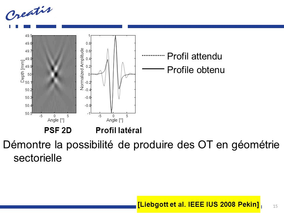 15 Profil attendu Profile obtenu Démontre la possibilité de produire des OT en géométrie sectorielle [Liebgott et al. IEEE IUS 2008 Pekin] PSF 2D Prof