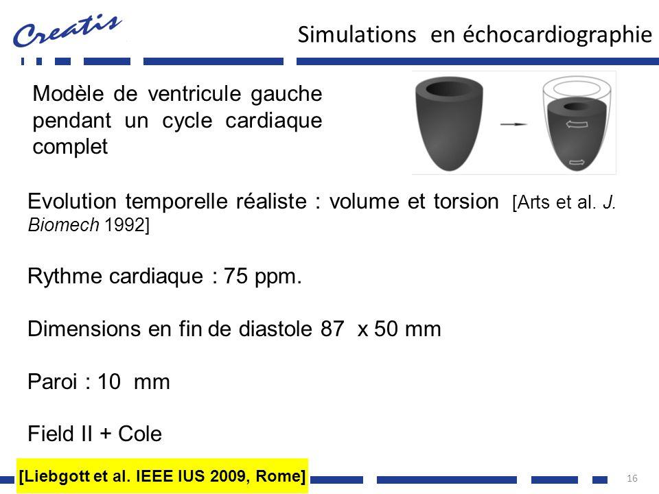 Simulations en échocardiographie 16 Modèle de ventricule gauche pendant un cycle cardiaque complet Evolution temporelle réaliste : volume et torsion [