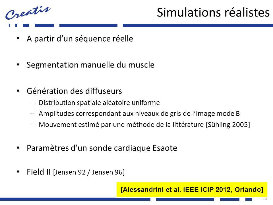 Simulations réalistes A partir dun séquence réelle Segmentation manuelle du muscle Génération des diffuseurs – Distribution spatiale aléatoire uniform
